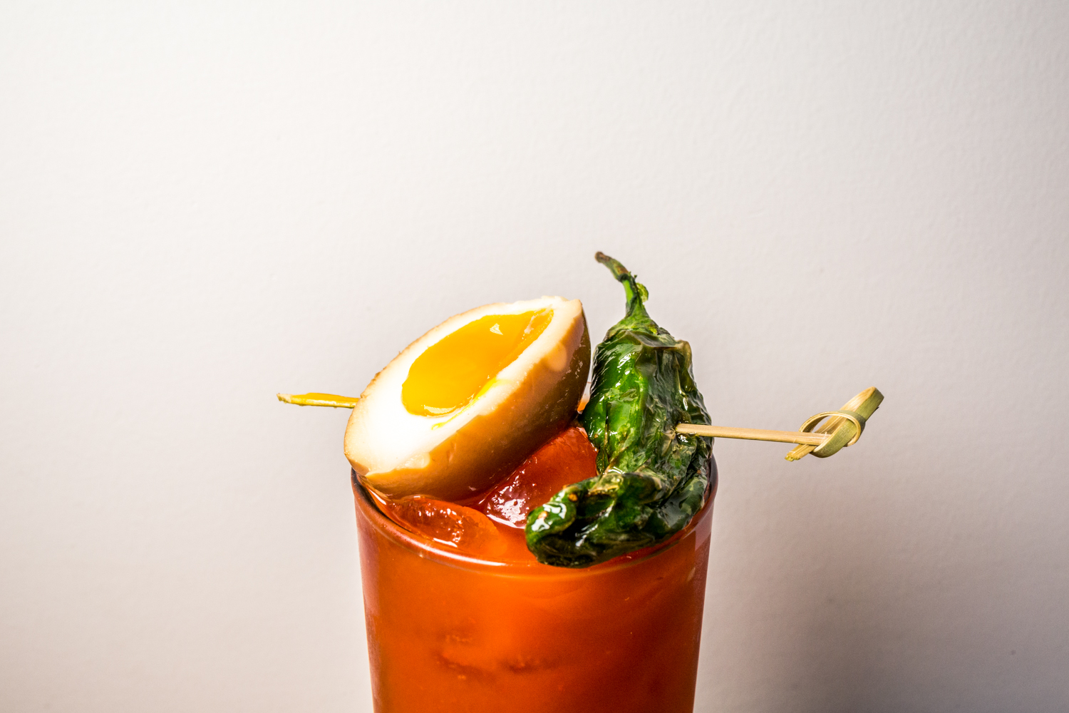 Kimchi Bloody Mary with shishito pepper and tea-marinated egg / Image: Catherine Viox // Published: 10.21.19