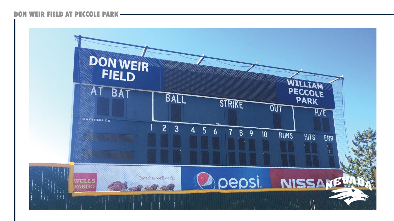 The scoreboard at Don Weir Field at Peccole Park. (Courtesy: UNR Athletics){&amp;nbsp;}<p></p>