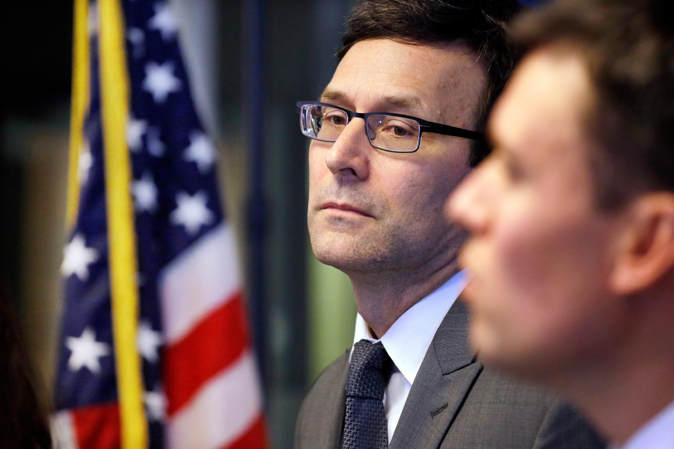 Washington State Attorney General Bob Ferguson listens to a question at a news conference the state's response to President Trump's revised travel ban Thursday, March 9, 2017, in Seattle. Legal challenges against Trump's revised travel ban mounted Thursday as Washington state said it would renew its request to block the executive order. It came a day after Hawaii launched its own lawsuit, and Ferguson said both Oregon and New York had asked to join his state's legal action. (AP Photo/Elaine Thompson)