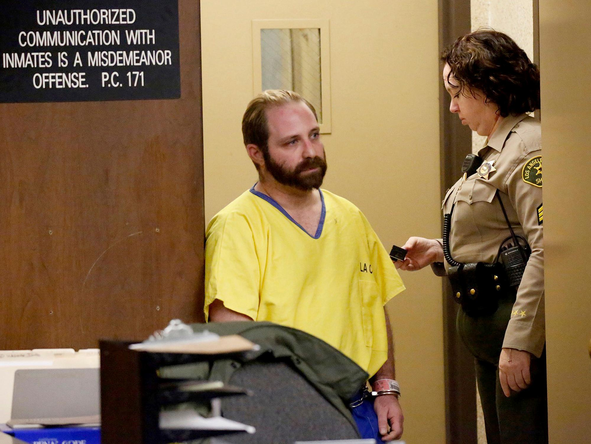 Aramazd Andressian Sr., accused in his 5-year-old son's death, enters the courtroom in Los Angeles County Superior Court in Alhambra Tuesday, Aug. 1, 2017. Andressian Sr. changed his plea in the killing to guilty and will be sentenced to 25 years to life in prison when he returns to court on Aug. 23. (Al Seib/Los Angeles Times via AP, Pool)