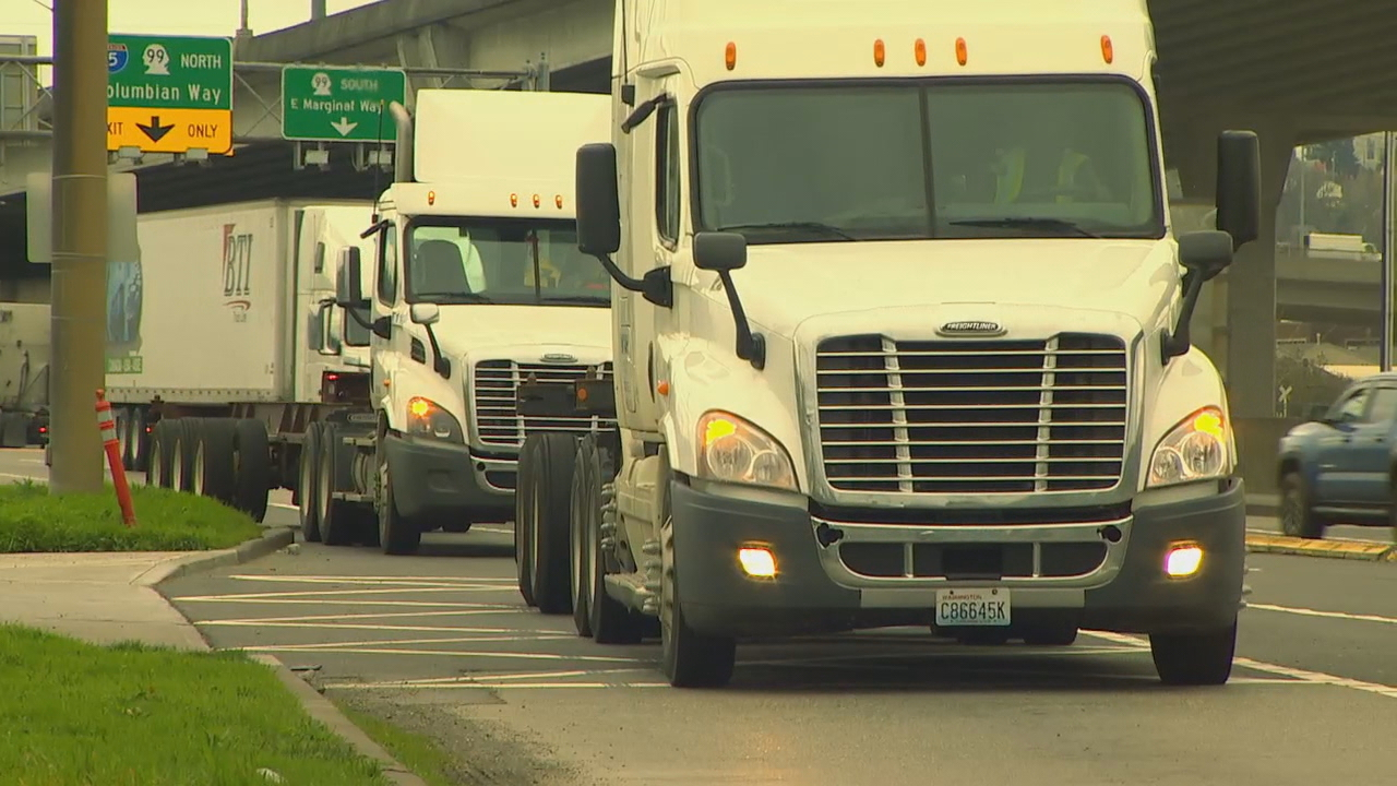 Hundreds of diesel truck drivers took part in a walk-out Tuesday, Feb. 6, 2018,  as the Ports of Seattle and Tacoma voted to enforce a new emissions standard for port trucks. (Photo: KOMO News)