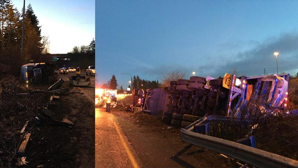 semi driver cited for rollover crash that closed i 205 south in