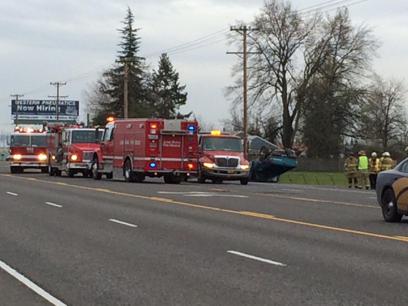 Emergency crews responded to a crash near Junction City on Highway 99 South on Friday before noon.