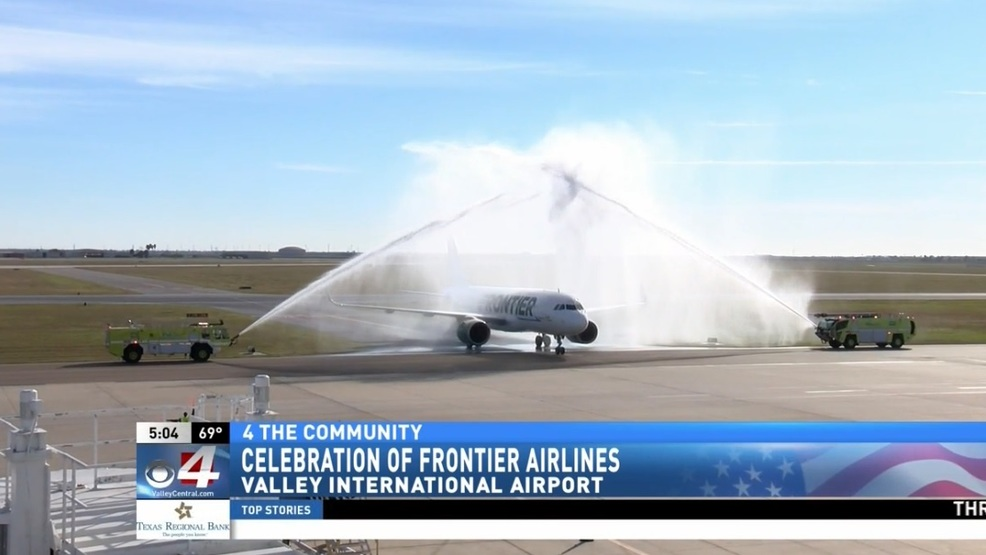 inaugural flight of frontier airlines arrives at valley
