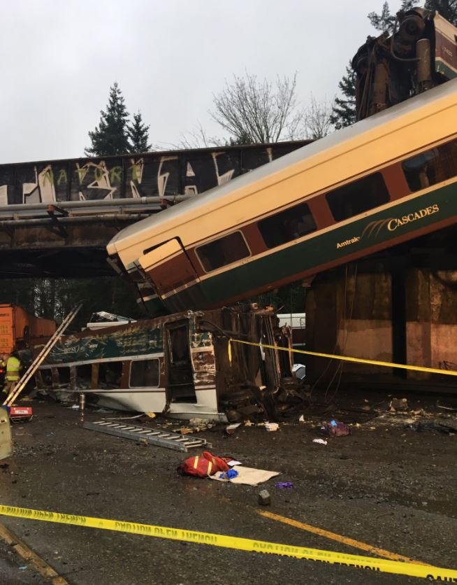 Three people were killed when an Amtrak train derailed near DuPont, Wash. Monday, Dec. 18, 2017. (Photo: Washington State Patrol)<p></p>