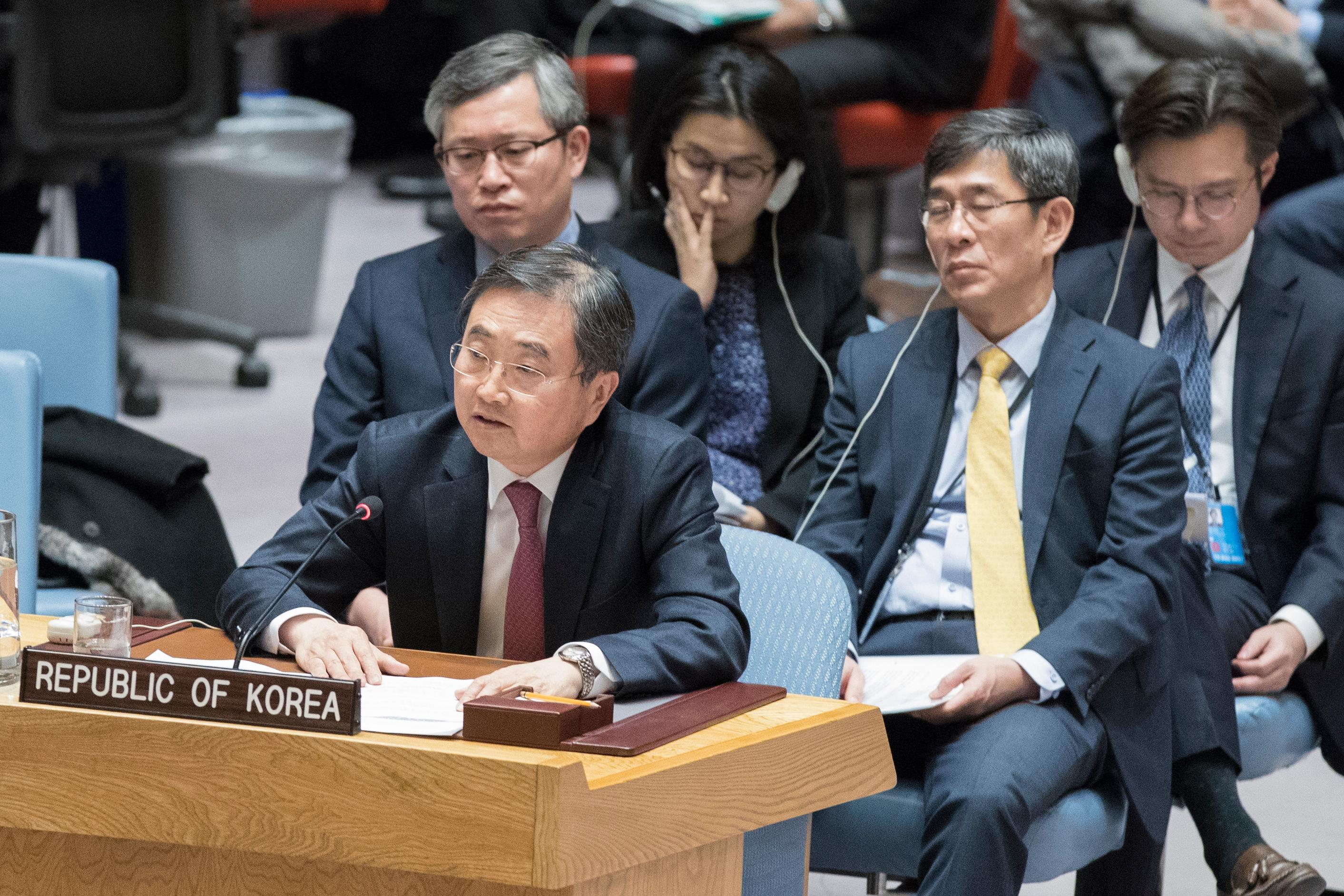 South Korean Vice Minister of Foreign Affairs Cho Hyun speaks during a high level Security Council meeting on the situation in North Korea, Friday, Dec. 15, 2017 at United Nations headquarters. (AP Photo/Mary Altaffer)