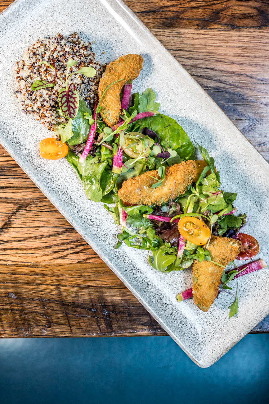 Grilled Peach & Arugula Salad from Overlook Kitchen + Bar / Image: Catherine Viox // Published: 9.8.20
