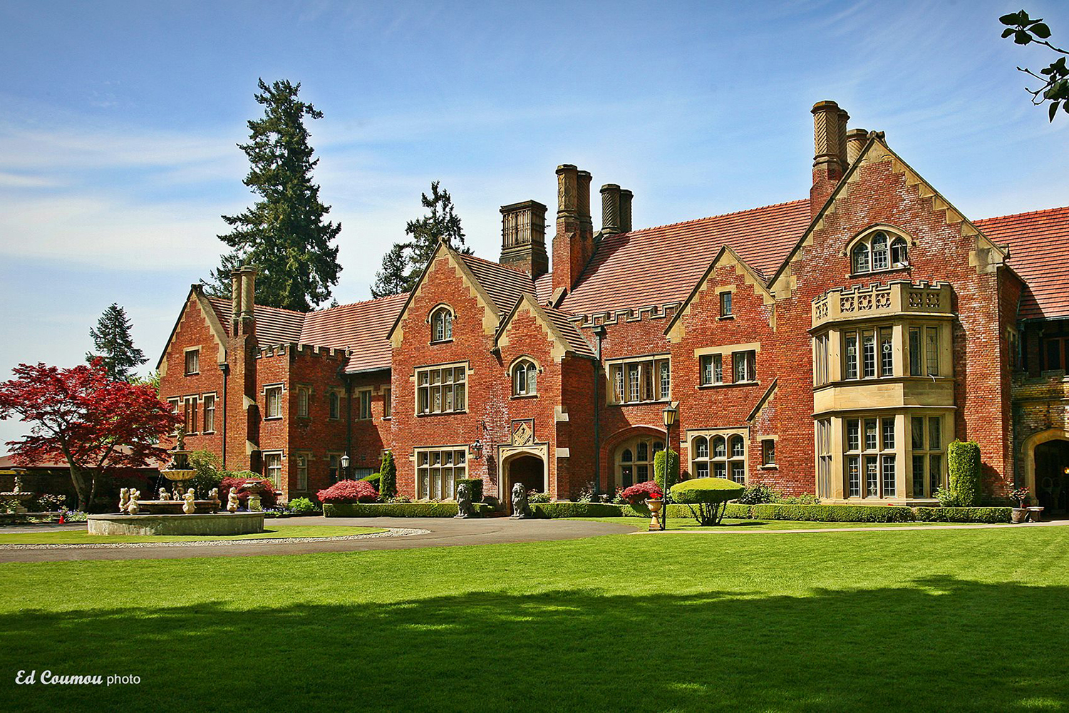 Nestled between tall firs with a view of American Lake, Thornewood Castle is Lakewood, Washington's 500-year-old Tudor Gothic-style castle that you can actually stay in. (Photo courtesy of Thornewood Castle)