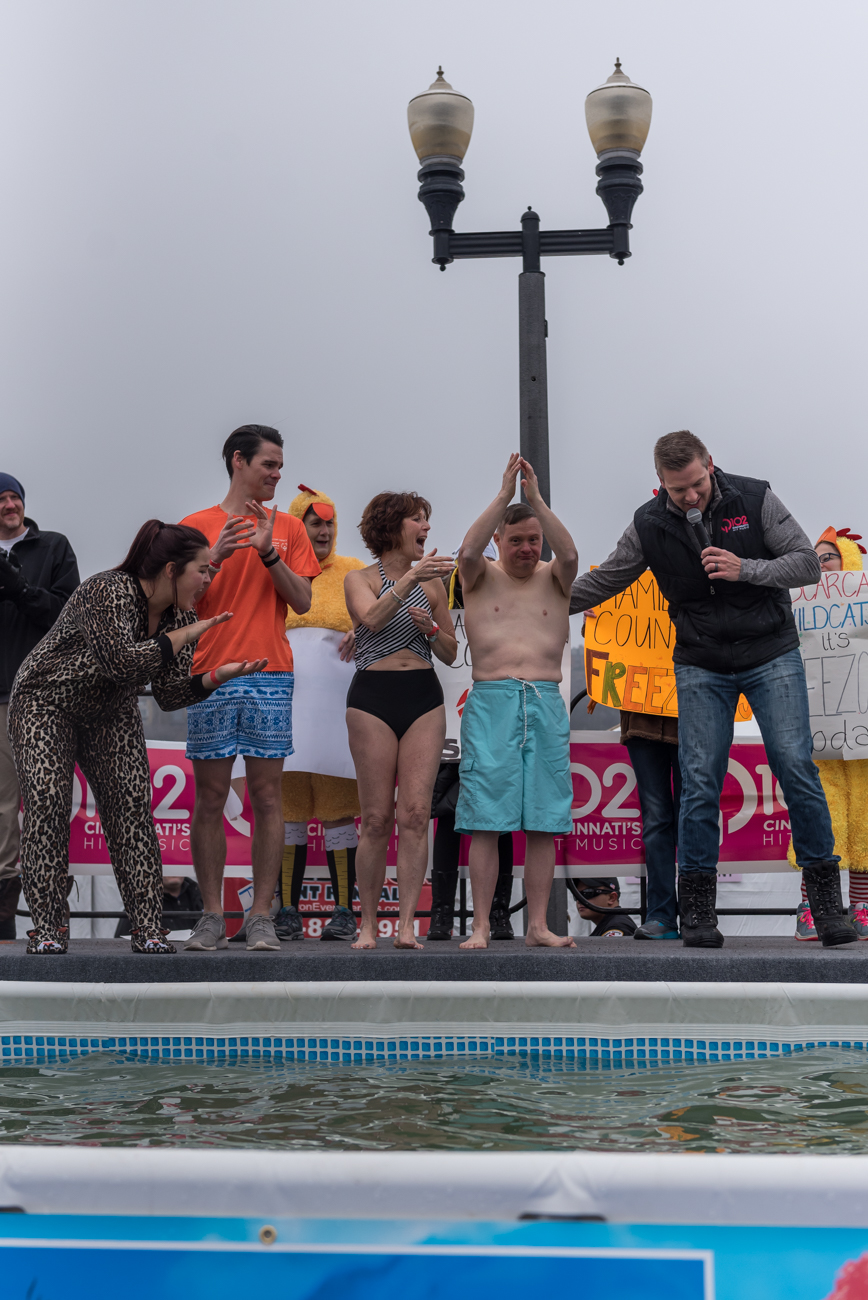 The Greater Cincinnati Polar Plunge was held on Saturday, February 2 at Joe's Crab Shack in Bellevue, KY. What was the purpose of willingly jumping into a pool of freezing cold water in the middle of winter? It benefited charity—specifically the Special Olympics. Participants were required to raise at least $75 to take the plunge, and proceeds went to the charity. Prizes were given to winners of certain categories, the likes of which included everything from top fundraiser to best costume. / Image: Mike Menke // Published: 2.3.19<p></p>