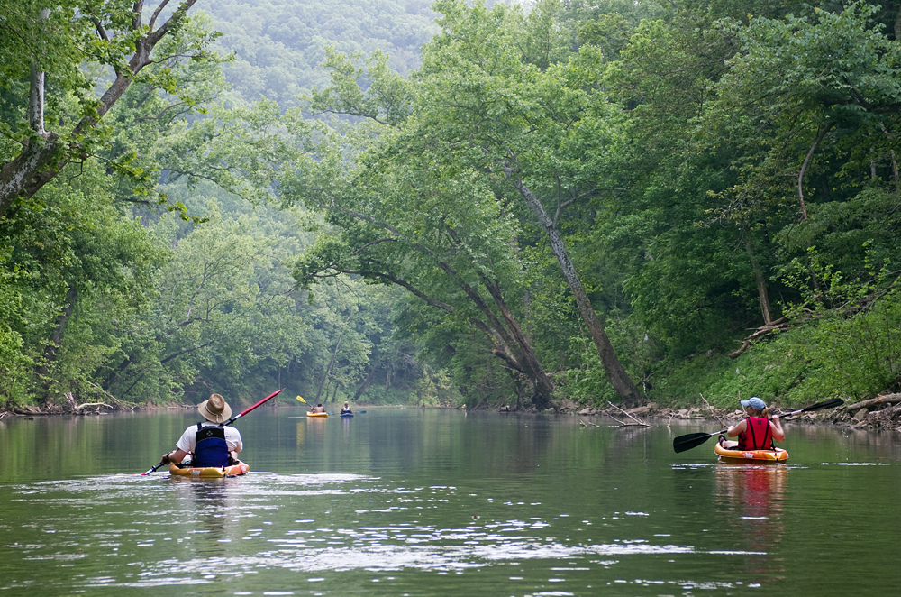 If you're a canoe enthusiast, chances are you probably own your own canoe. Bring it to boat the Blue River, which is 11 miles long and accessible from O'Bannon Woods State Park. Otherwise, you can head to Cave County Canoes and rent a kayak or canoe for a half-day, full-day, or 2-day trip. There are rapids, bridges, beaches, and forests giving it a lot of variety in just 11 miles. Your rental includes transportation to and from the river, maps, life jackets, and oars so all you have to bring is yourself and a lunch for the beach. / Image courtesy of Historic Corydon and Harrison County // Published: 7.22.19