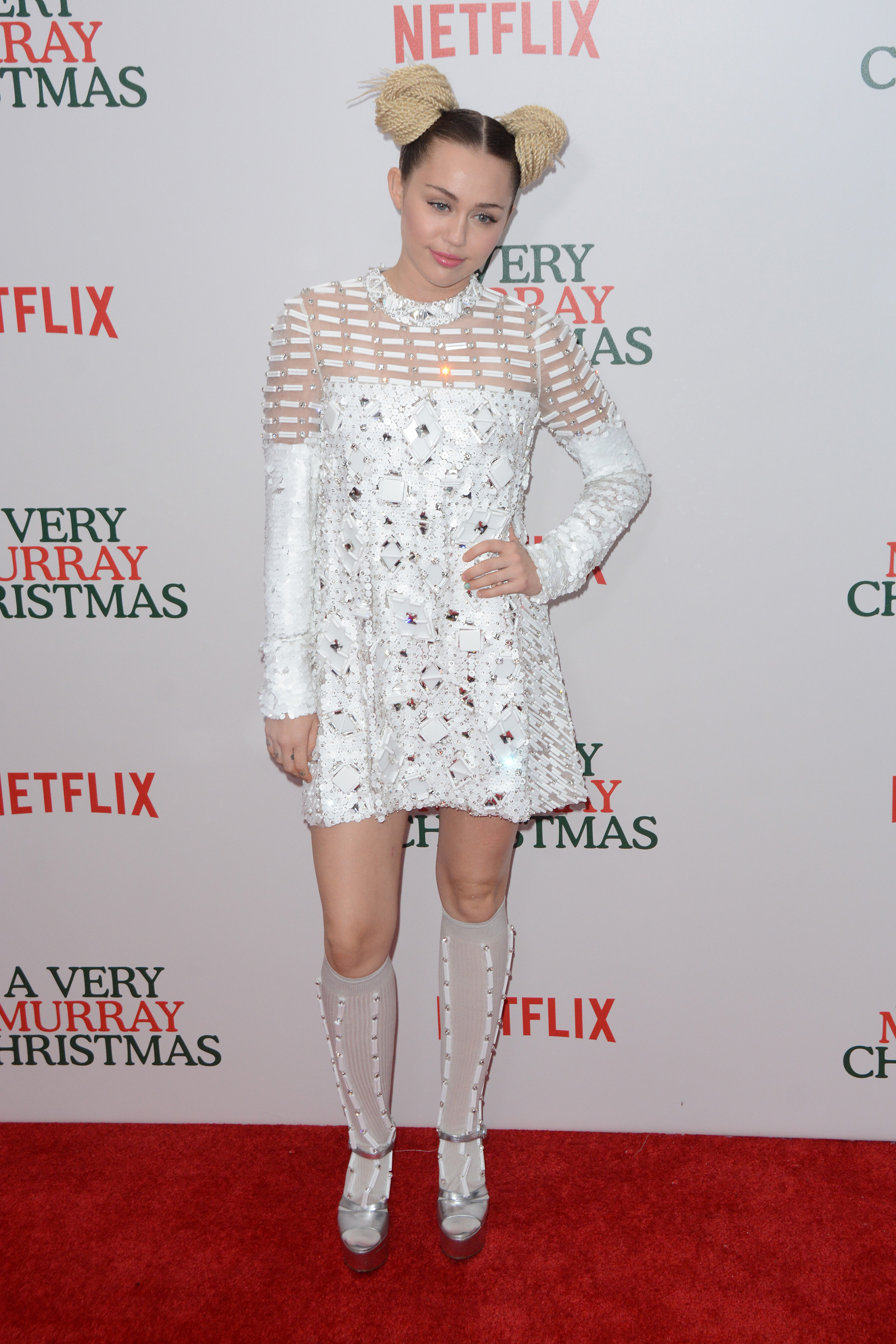 """A Very Murray Christmas"" New York Premiere - Red Carpet Arrivals  Featuring: Miley Cyrus Where: New York, New York, United States When: 03 Dec 2015 Credit: Ivan Nikolov/WENN.com"