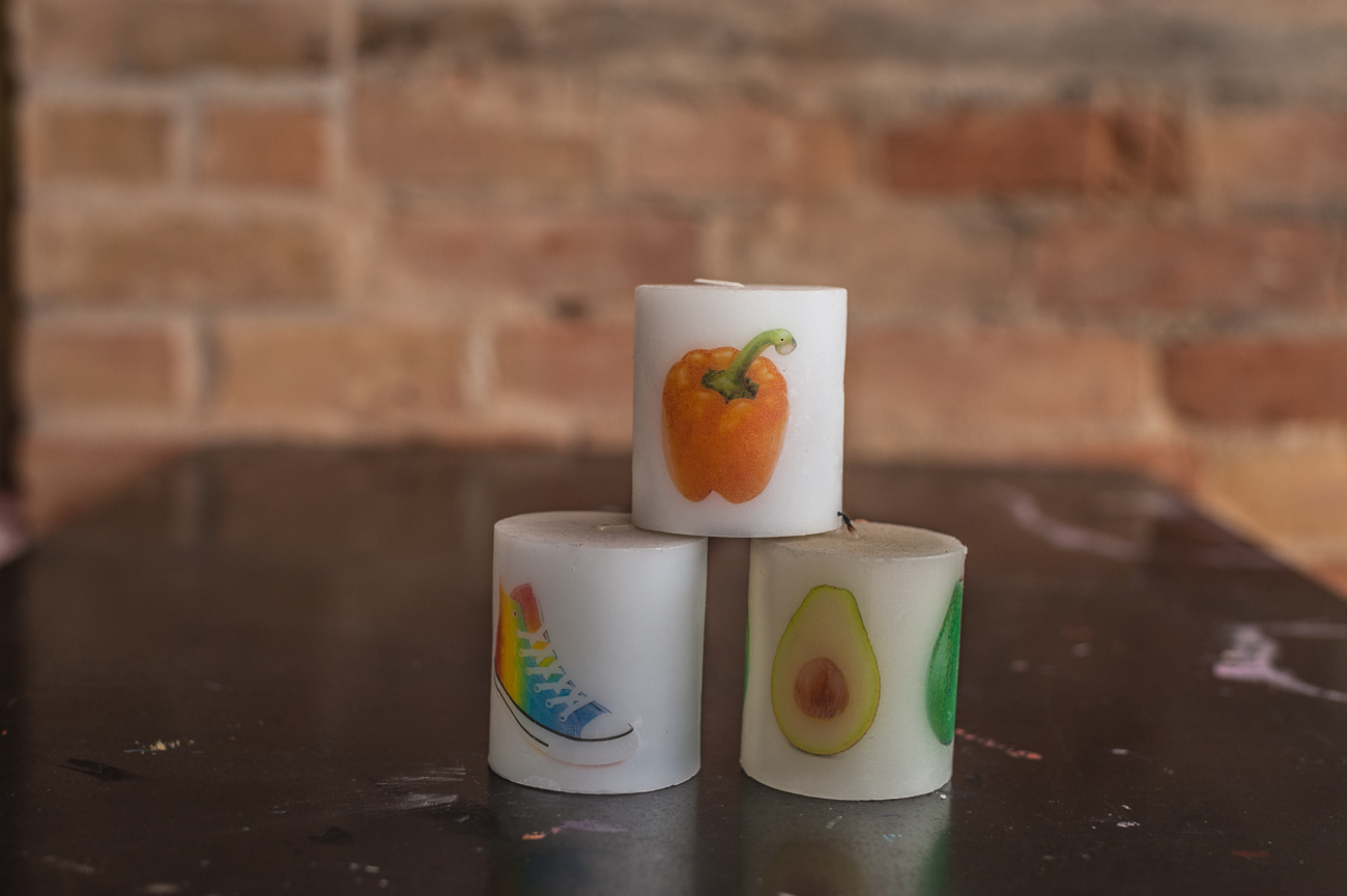 Screen-printed candles from The Welcome Project / Image: Kellie Coleman // Published: 1.7.21