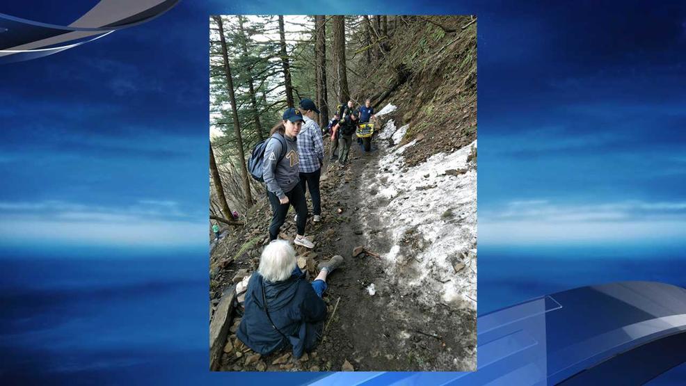 2 slip on ice, fall at Multnomah Falls