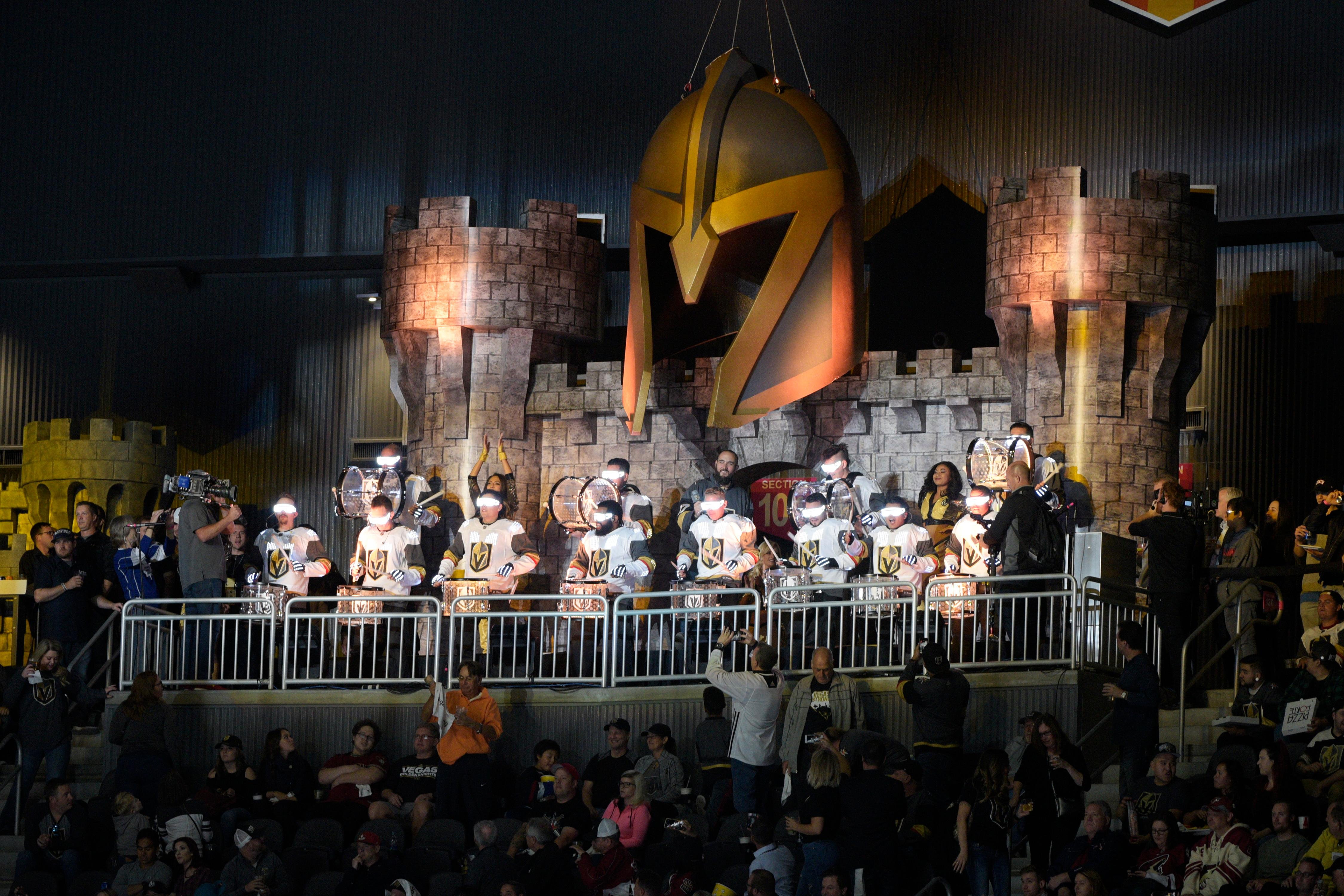 The Knight Line drum line performs during the Vegas Golden Knights home opener against the Arizona Coyotes Tuesday, Oct. 10, 2017, at the T-Mobile Arena. The Knights won 5-2 to extend their winning streak to 3-0. CREDIT: Sam Morris/Las Vegas News Bureau
