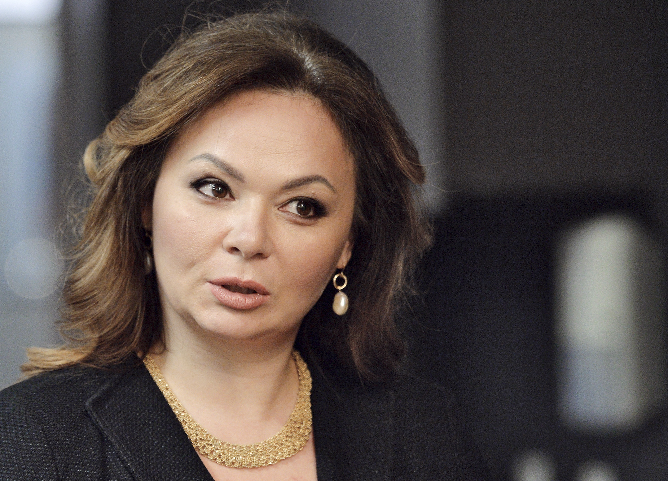 In this photo taken on Tuesday, Nov. 8, 2016, Kremlin-linked lawyer Natalia Veselnitskaya speaks to a journalist in Moscow, Russia.  President Donald Trump's eldest son changed his account of the meeting he had with a Russian lawyer during the 2016 campaign over the weekend, saying Sunday July 9, 2017, that Natalia Veselnitskaya told him she had information about Clinton. A statement from Donald Trump Jr. one day earlier made no mention of Clinton. (Yury Martyanov /Kommersant Photo via AP) RUSSIA OUT