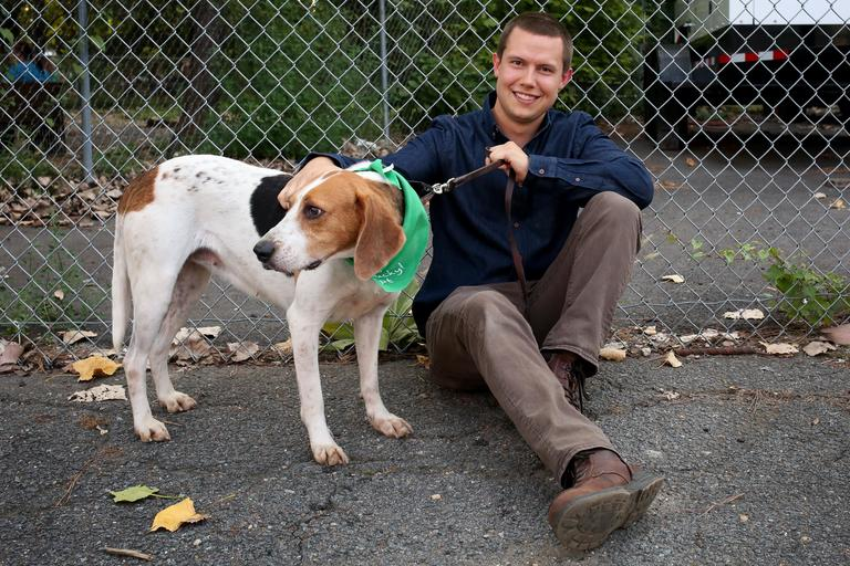 Ryan is a 25-year-old analyst living in Arlington who enjoys being outdoorsy.  // Marina is a 3-year-old hound mix who would prefer to go to a home, not an apartment. She is available for adoption through Lucky Dog Animal Rescue.  (Amanda-Andrade-Rhoade/DC Refined)