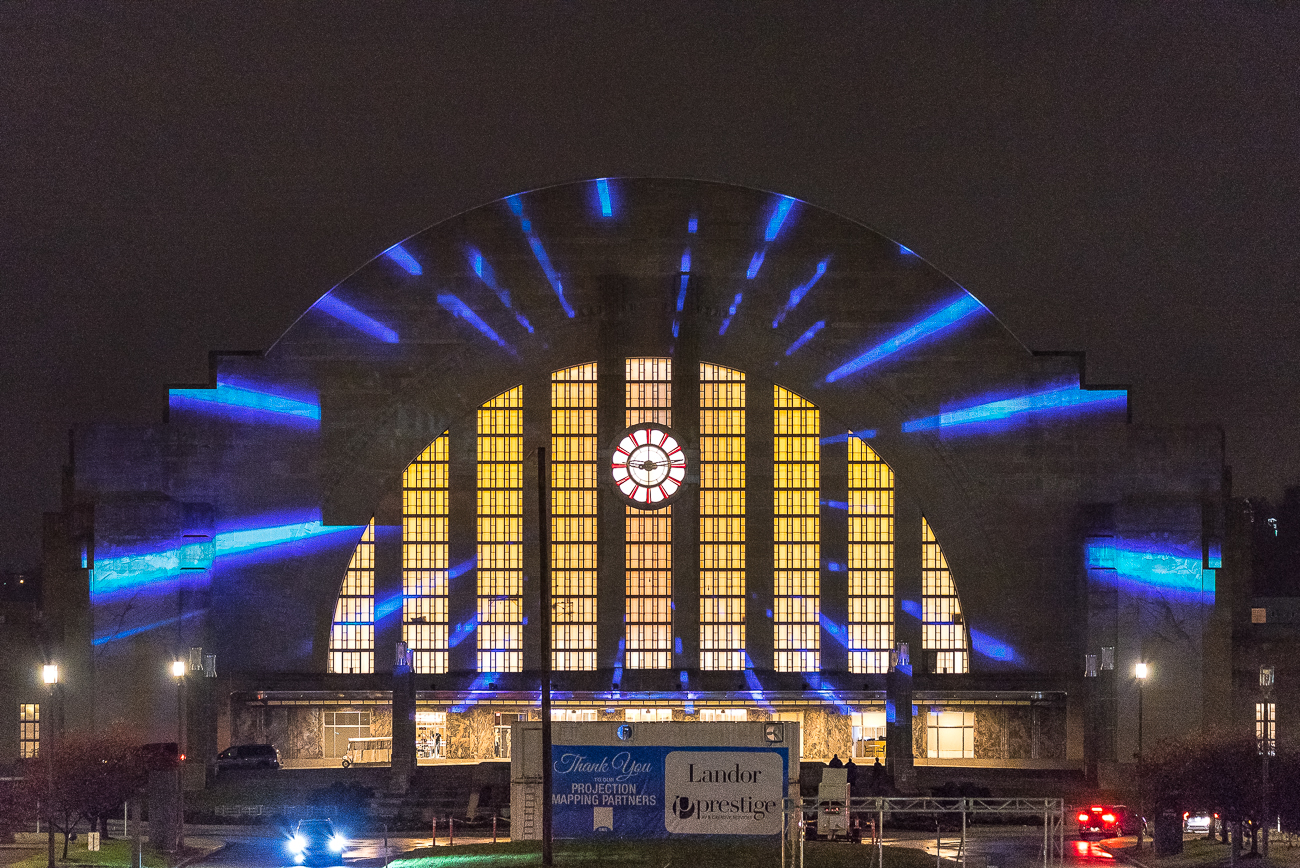 For the grand reopening of the Cincinnati Museum Center at Union Terminal, Landor Associates produced 15-minute looping light shows that were projected onto the face of the building for a solid week beginning on Veteran's Day. The light shows began at dusk and played until 10 PM every night. November 17th was the final night you could see them for yourself. / Image: Phil Armstrong // Published: 11.29.18