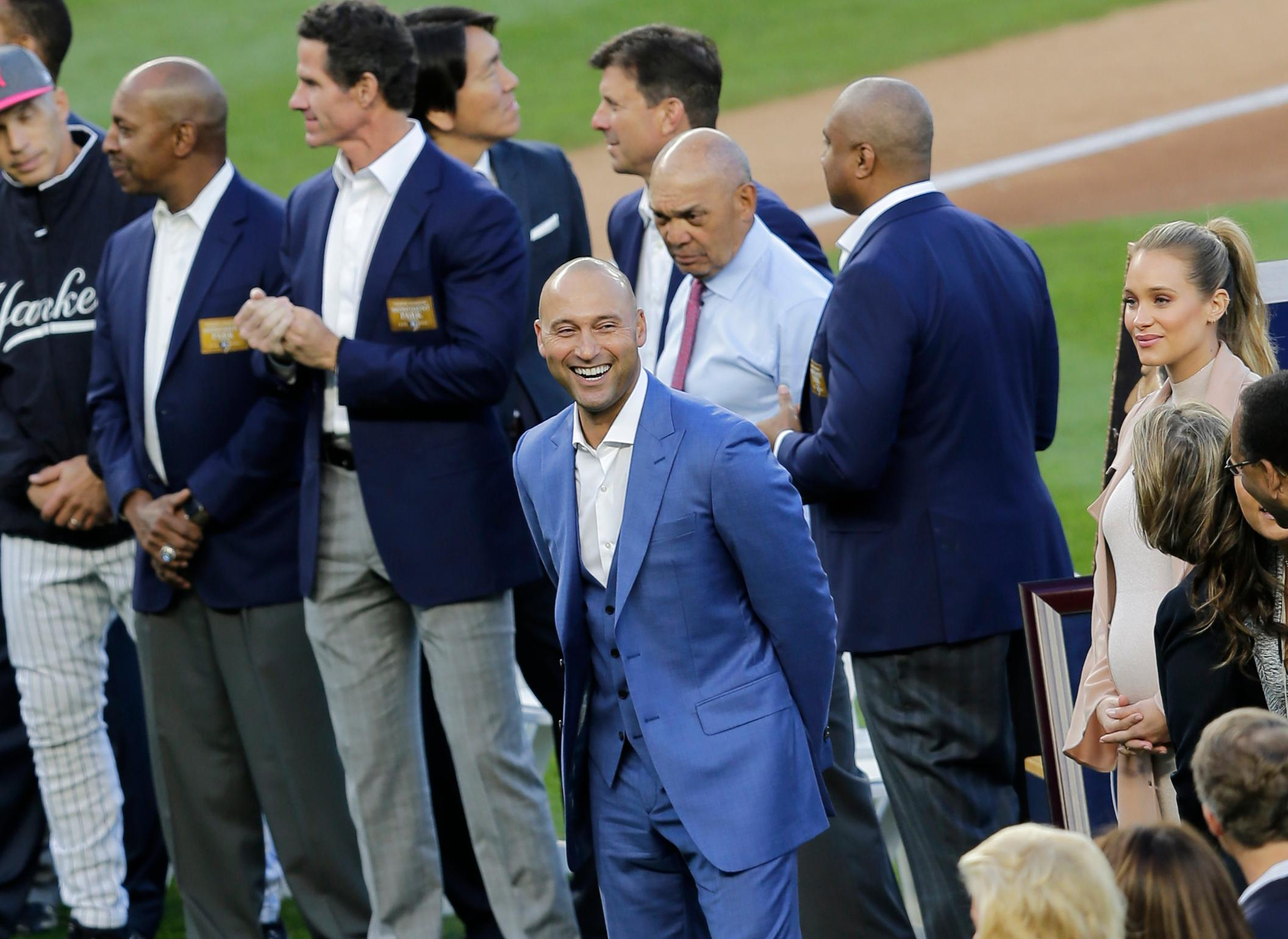 Former New York Yankees' Derek Jeter smiles during a ceremony retiring his number at Yankee Stadium, Sunday, May 14, 2017, in New York. (AP Photo/Seth Wenig)