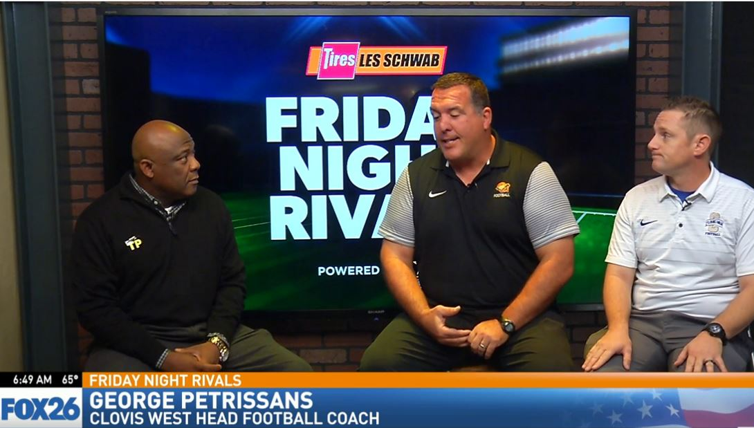 Clovis West head football coach George Petrissans talking about the Golden Eagles keys to the game