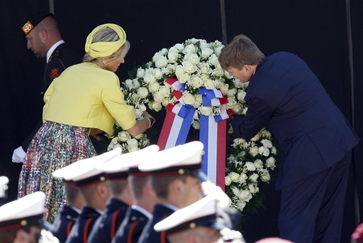 King Willem-Alexander and Queen Maxima of The Netherlands during a wreathlaying ceremony in honour of all combatants who landed in Arromanches, as part of the commemorations for the 70th anniversary of the D-Day landings, in Arromanches, France.