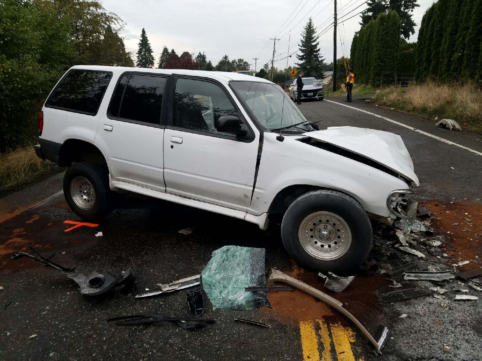 Police are investigating a two-vehicle, head-on collision that closed Highway 212 on Oct. 18, 2017. Photo courtesy Oregon State Police{&amp;nbsp;}<p></p>