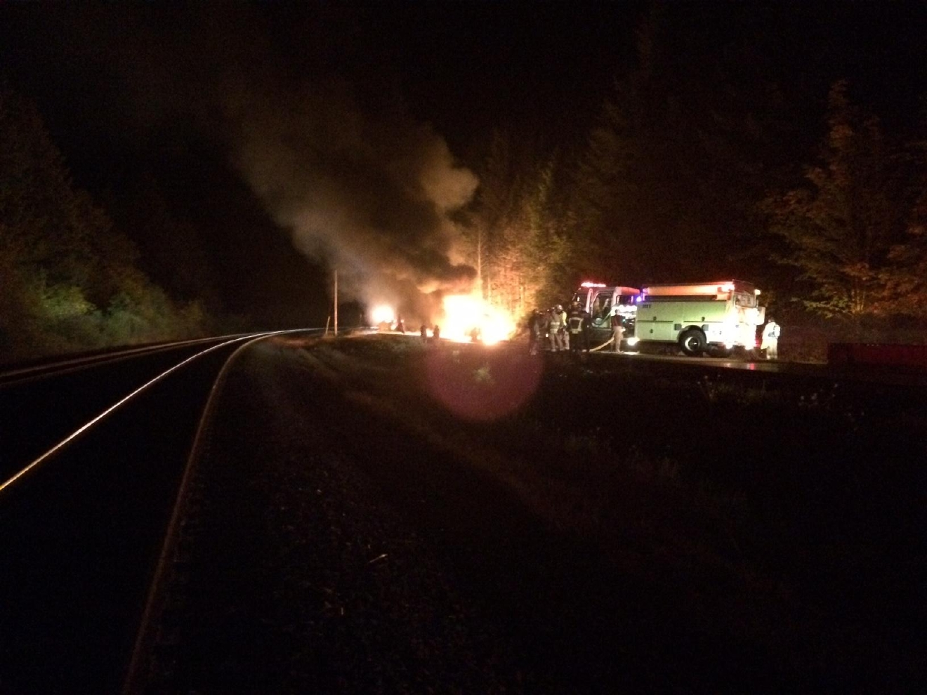 One lane of Highway 58 is open after a tanker truck crashed and exploded late Saturday night. The crash caused damage to the pavement and police are still investigating the scene. Photo courtesy ODOT