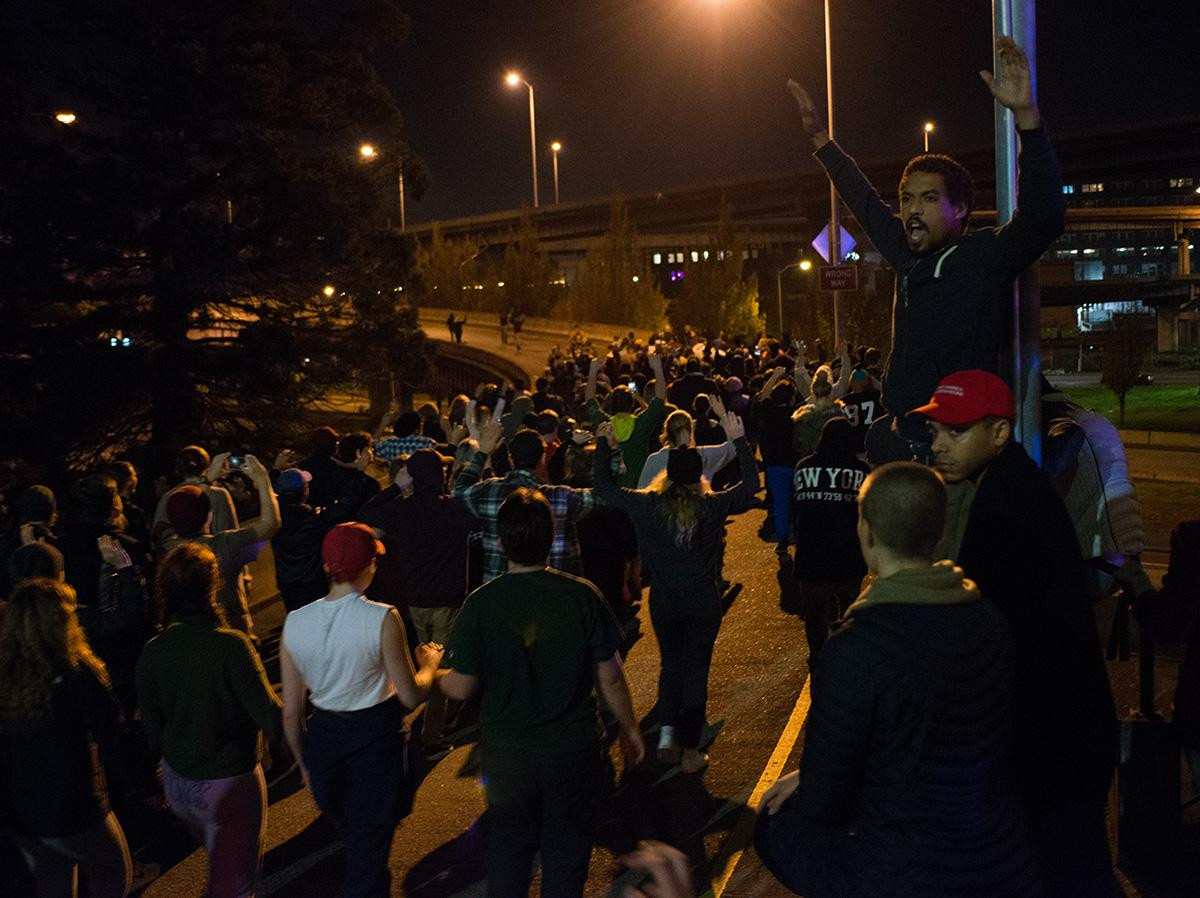 Scores of protesters took to the streets of Portland overnight Tuesday as a response to Republican candidate Donald Trump winning the presidential election. The demonstration wove in a circuit through downtown, on a section of Interstate 5, and onto the Hawthorne, Morrison and Broadway Bridges. (KATU photo – Tristan Fortsch)
