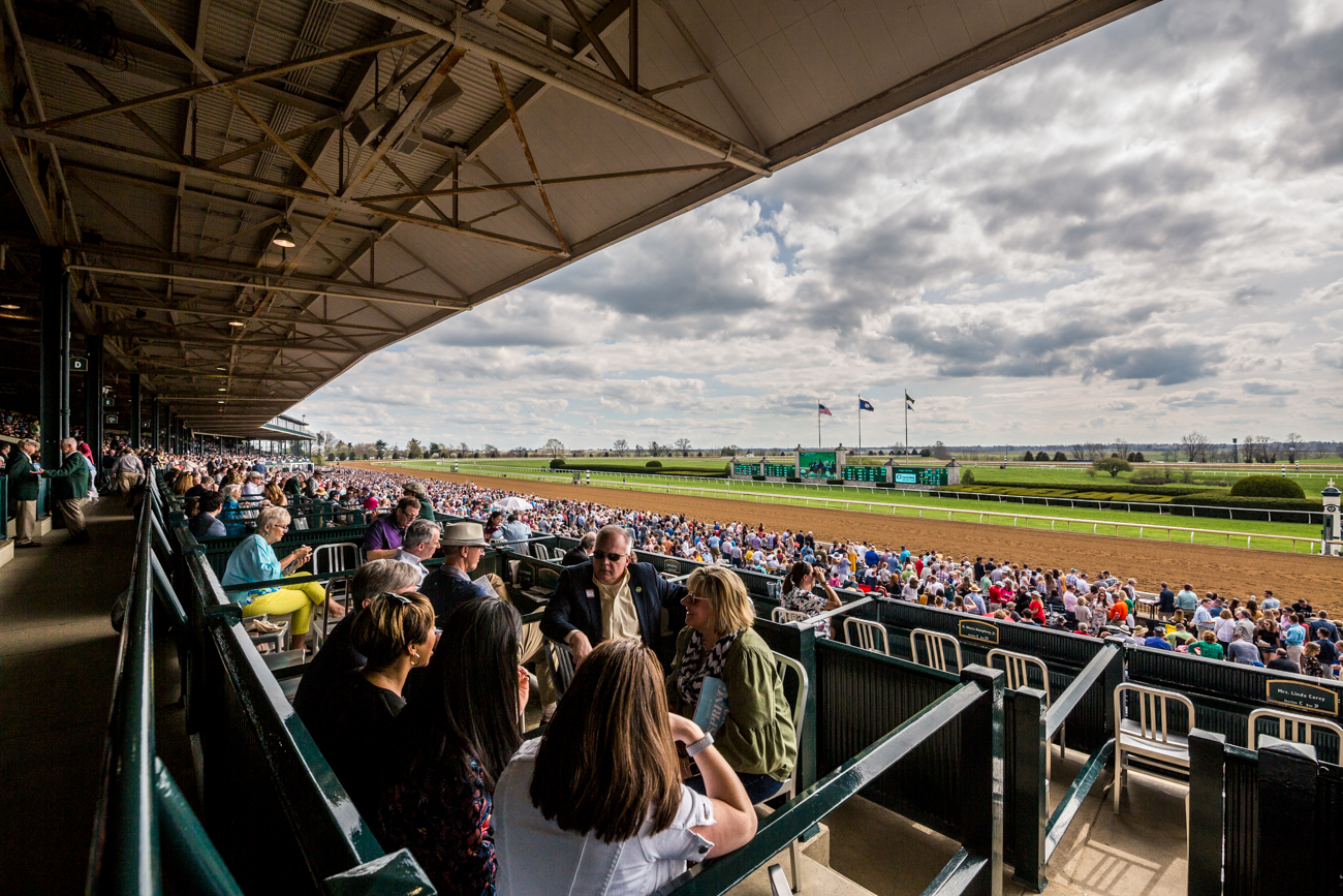 { }Attendees gather trackside at Keeneland./ Image courtesy of Catherine Viox // Published:{ }4.12.19
