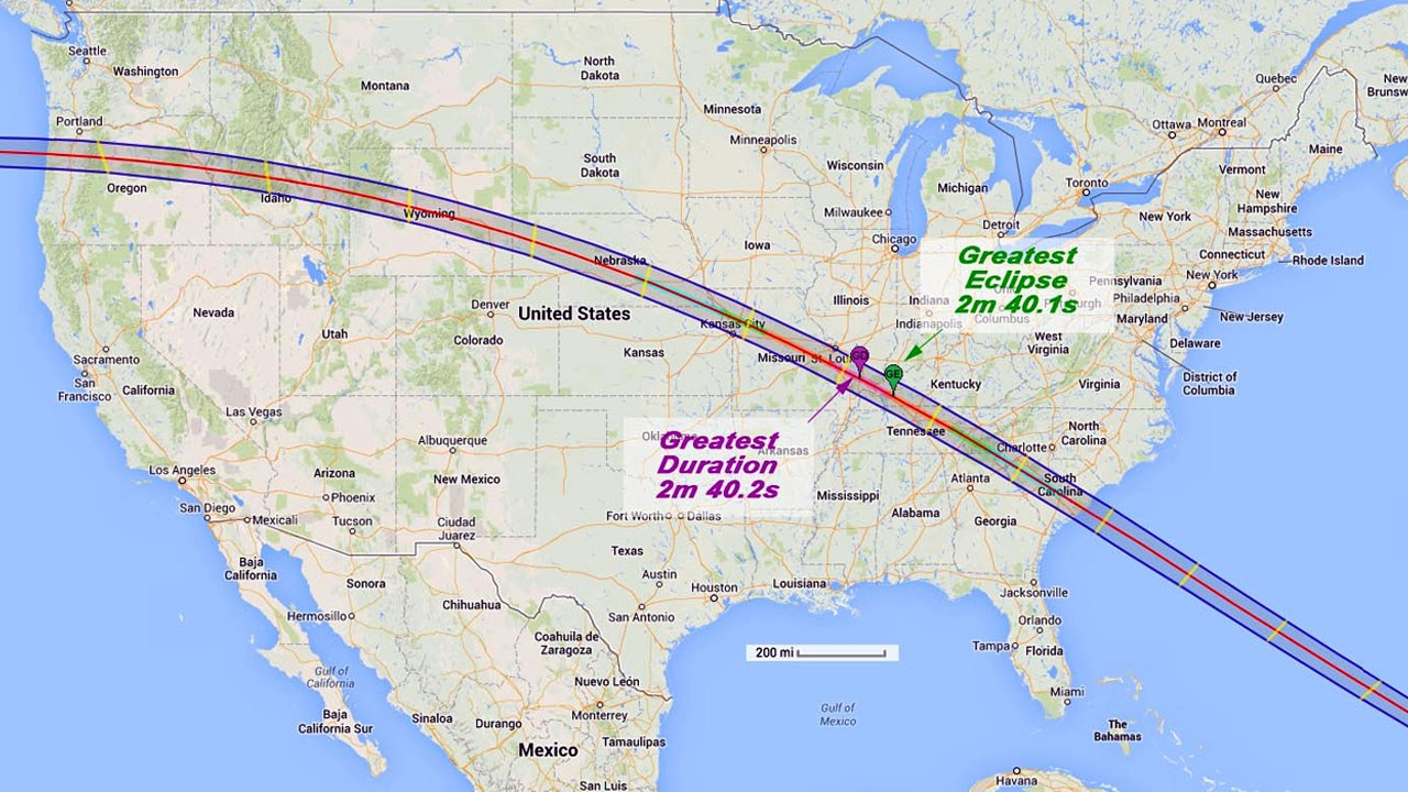 The total solar eclipse of Aug. 21, 2017, stretches across the U.S. from coast to coast (NASA)