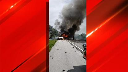 Fiery crash shuts down southbound Turnpike lanes in