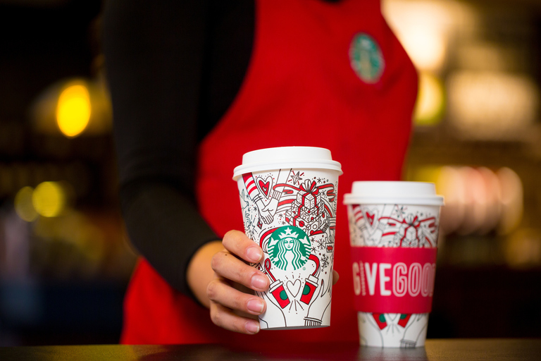 Starbucks 2017 holiday cups photographed on Monday, Oct. 23, 2017. (Starbucks/Joshua Trujillo)