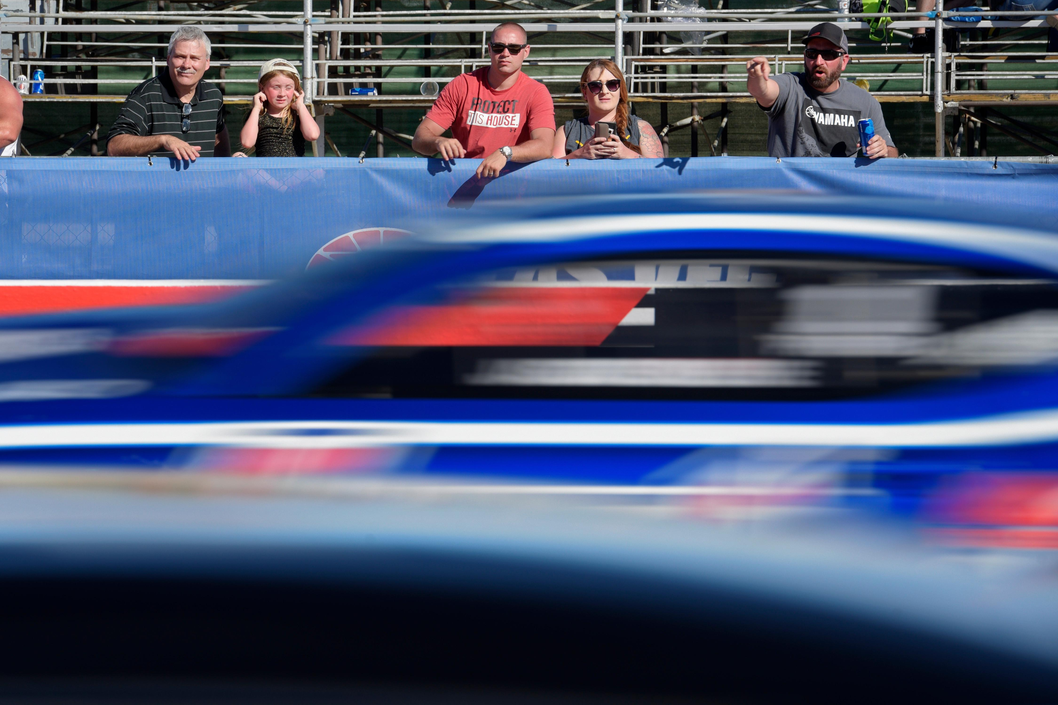 Race fans watch the action during the NHRA DENSO Spark Plug Nationals at The Strip at the Las Vegas Motor Speedway Sunday, April 2, 2017. (Sam Morris/Las Vegas News Bureau)