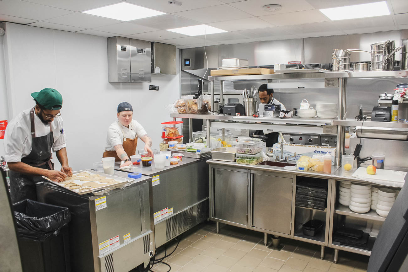The main goal of Social OTR is to serve as an internship site for the students of the Findlay Culinary Training program at CityLink Center. It's available to people who have previous criminal records, disadvantaged education or income levels, or just hit by hard times that make it harder to find jobs. The 16-week program begins with four weeks in a culinary lab and classroom learning both cooking and life skills such as conflict resolution and problem solving. That's followed by a 12-week internship with Social OTR that ends with assistance in career placement when the program is completed. / Image: Erin Glass // Published: 3.27.19