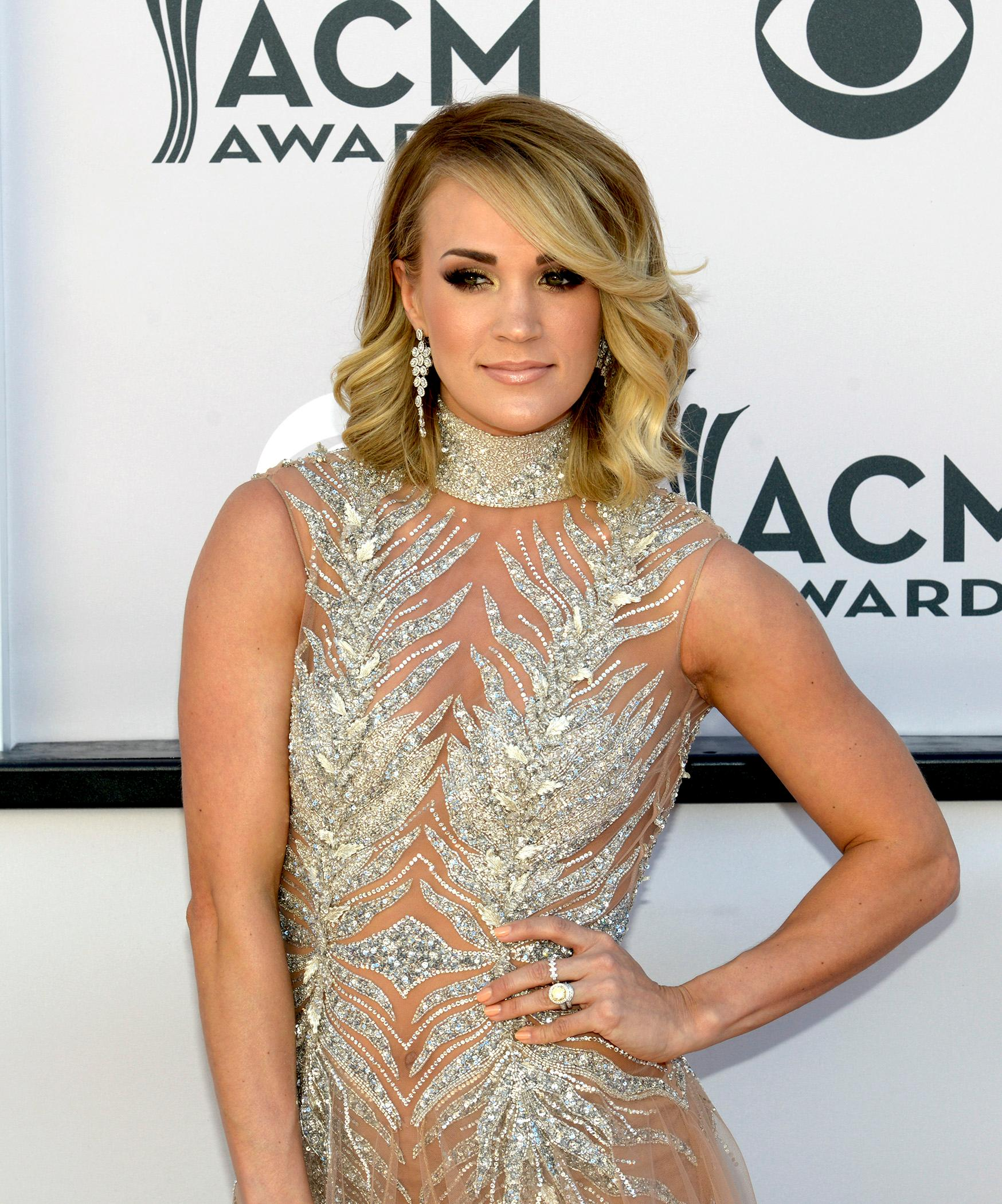 Carrie Underwood, nominee for Entertainer of the Year and Female Vocalist of the Year walks the Academy of Country Music Awards red carpet at T-Mobile Arena. Sunday, April 2, 2017. (Glenn Pinkerton/ Las Vegas News Bureau)