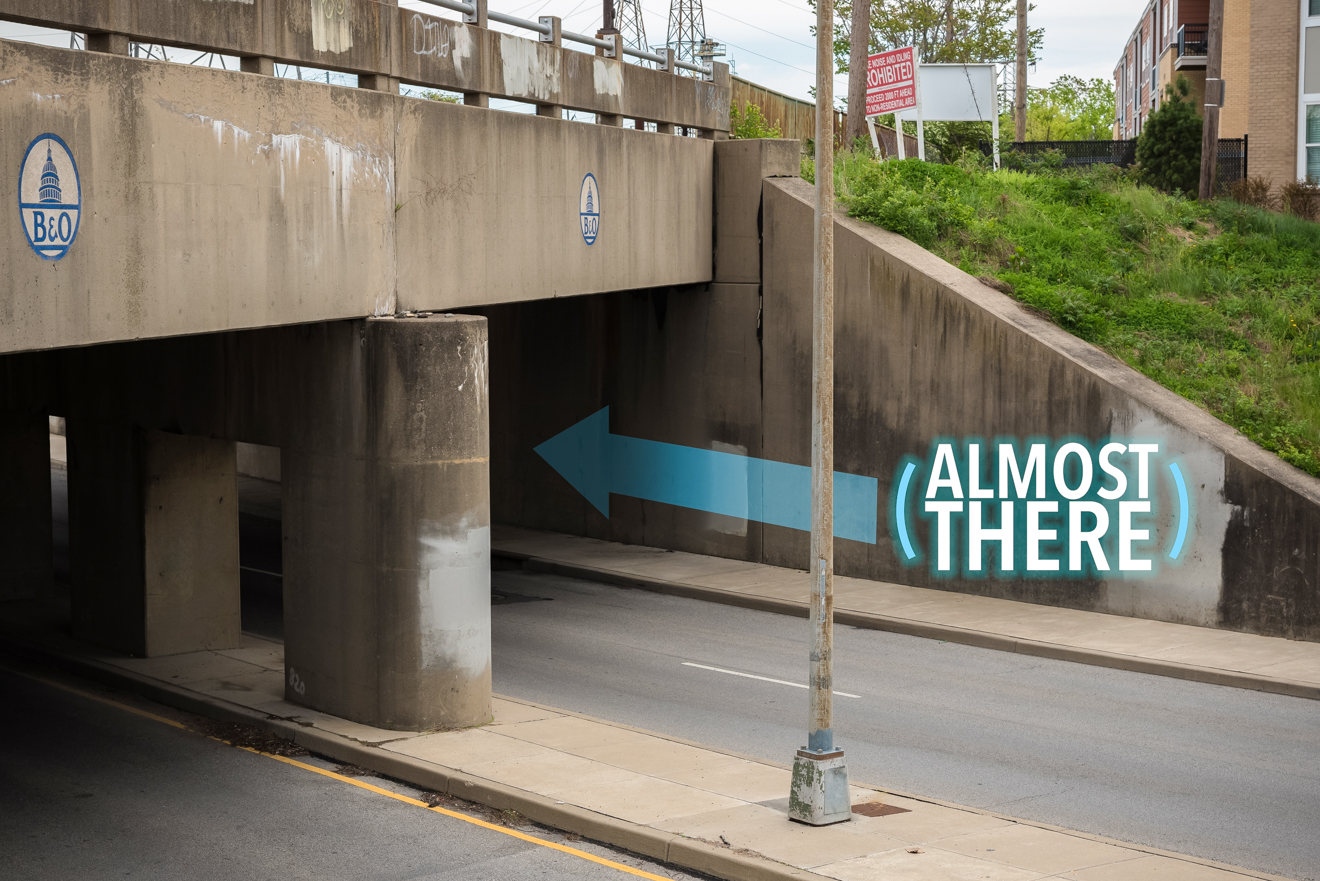 You will eventually come upon this B&O railroad overpass.  Walk under it. You're almost there! / Image: Phil Armstrong, Cincinnati Refined // Published: 4.25.17