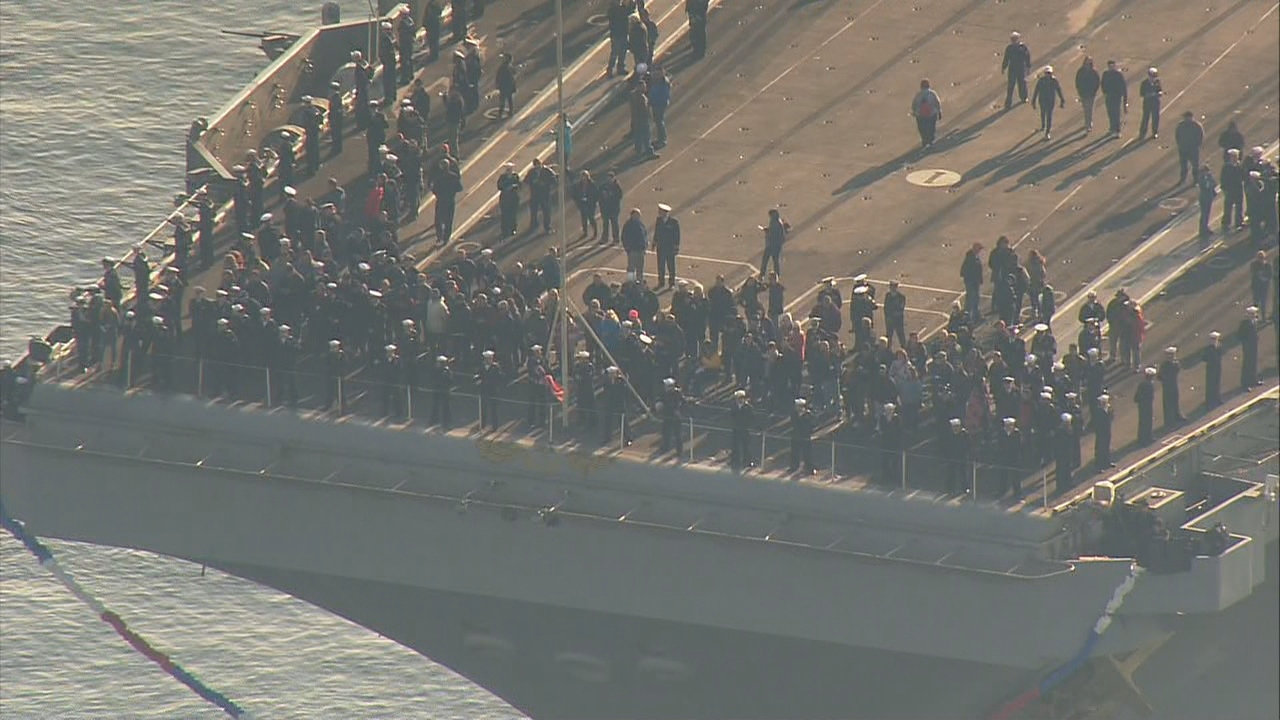 The aircraft carrier USS Nimitz arrived home Sunday to Naval Base Kitsap after a six-month deployment overseas. (Photo: KOMO Air4)