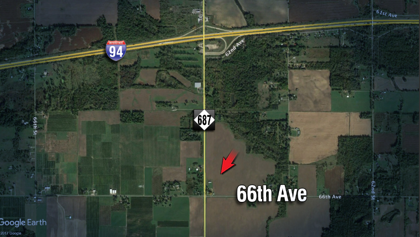 The crash occurred at County Road 687 and 66th Avenue. (WWMT graphics)<p></p>