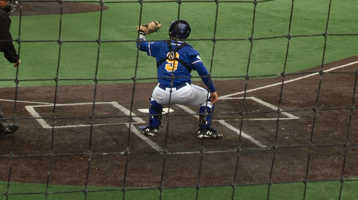 Catcher Will Olson takes practice pitches in game two against MSSU.{&amp;nbsp;}<p></p><p></p>