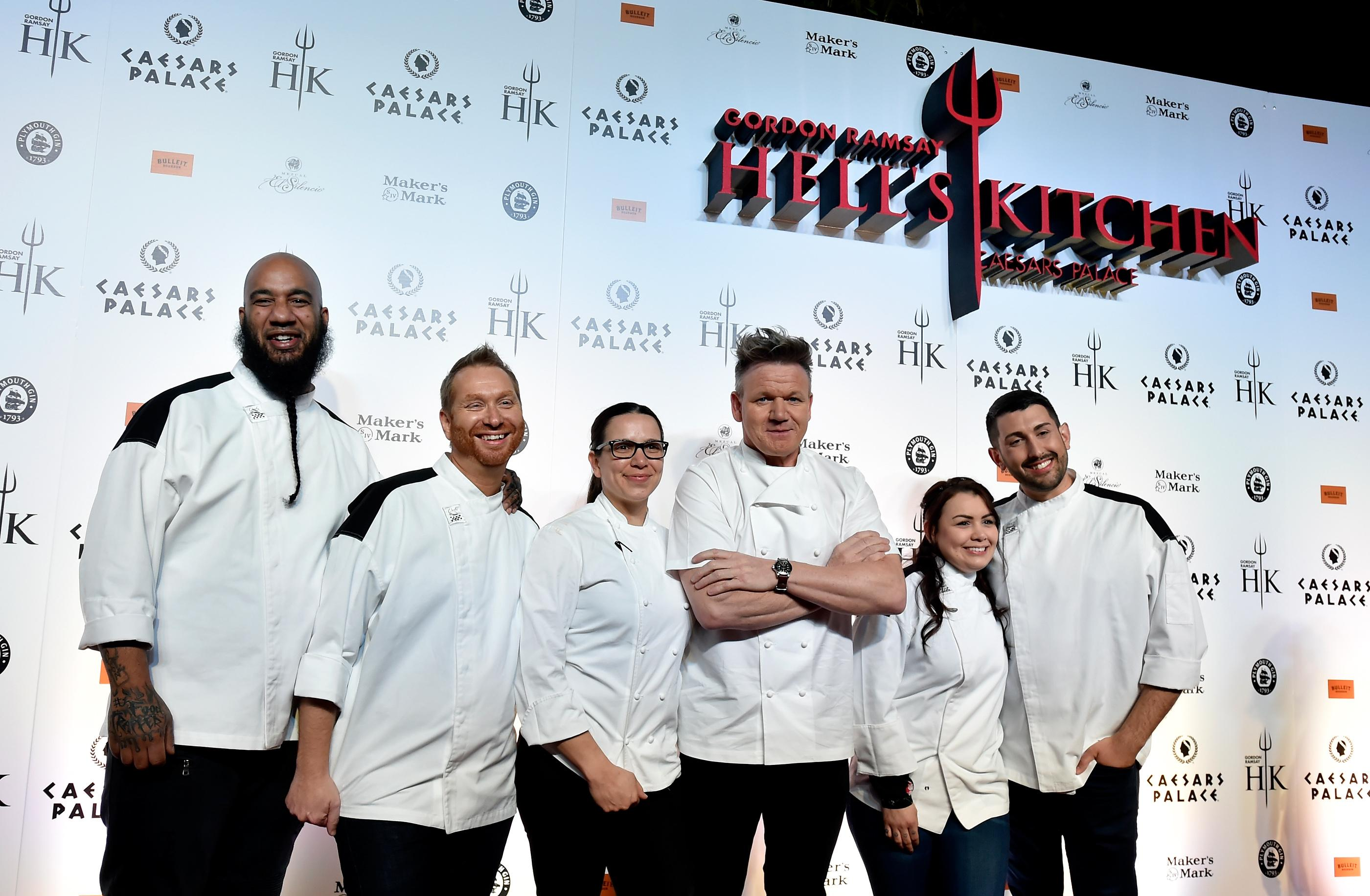 From left, Hell's Kitchen season 17 finalists Emili Medley, Benjamin Knack, Hell's Kitchen season 10 winner Christina Wilson, chef Gordon Ramsay and Hell's Kitchen season 17 finalists Michelle Tribble and Nick Bond attend the grand opening of Gordon Ramsay Hell's Kitchen at Caesars Palace Friday, Jan. 26, 2018, in Las Vegas. CREDIT: David Becker/Las Vegas News Bureau