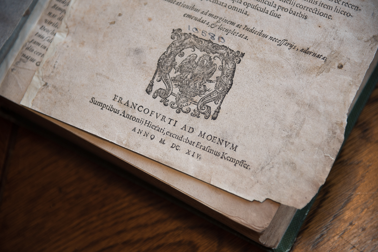The oldest book in the collection is believed to be this one from 1614. To give some perspective, this book pre-dates the formation of the United States by over 160 years. / Image: Phil Armstrong, Cincinnati Refined // Published: 2.7.18<p></p>