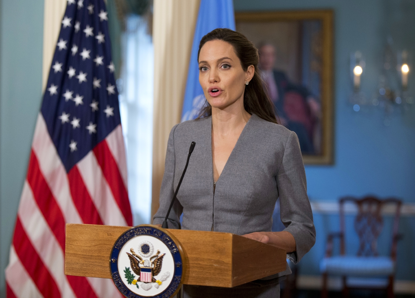 FILE- In this June 20, 2016, file photo, United Nations High Commissioner for Refugees Special Envoy Angelina Jolie speaks to reporters during a meeting with Secretary of State John Kerry at the Department of State in Washington. Jolie said in a New York Times editorial Thursday, Feb. 2, 2017, that the U.S. decision to suspend refugee resettlements and visits from several Muslim-majority countries isn't the American way. (AP Photo/Manuel Balce Ceneta)
