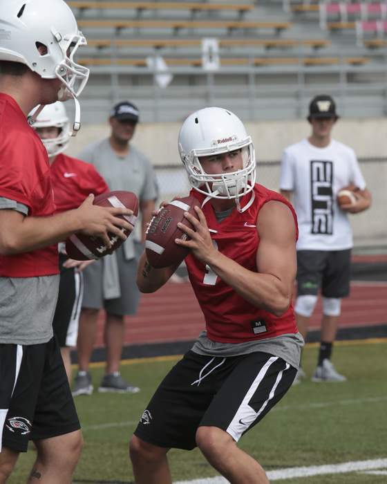 Southern Oregon Football fall pre-season football practice. [ // PHOTOS BY: LARRY STAUTH JR]