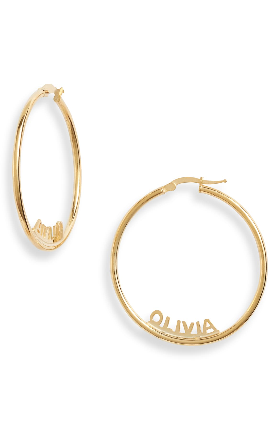<p>With a personalized design featuring your name in carved block letters, these tubular hoop earrings are clearly made just for you. $148. Shop it. (Image: Nordstrom)</p><p></p>