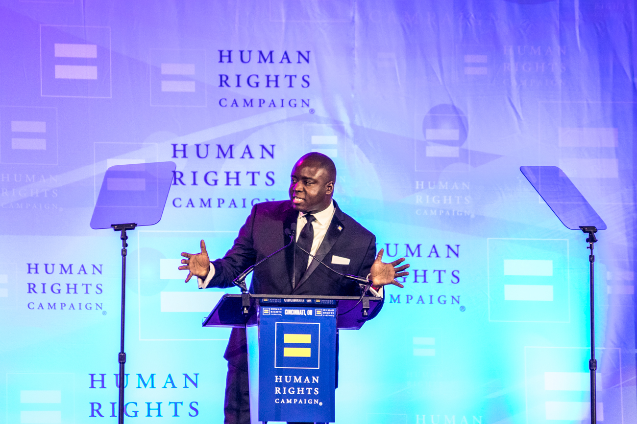 The Human Rights Campaign's (HRC) Color Ball was held at the Duke Energy Convention Center Downtown on Saturday, January 25. Now in its 11th year, the event featured auctions, live entertainment, a dinner, and speakers. Special honors were presented to The Kroger Company for the Corporate Equality Award, Cheryl Eagleson for the David C. Crowley Leadership Award, and Aneesh Sheth for the HRC Visibility Award. The HRC is a national organization that supports equal rights for lesbian, gay, bisexual, transgender, and queer people in America. / Image: Catherine Viox // Published: 1.26.20