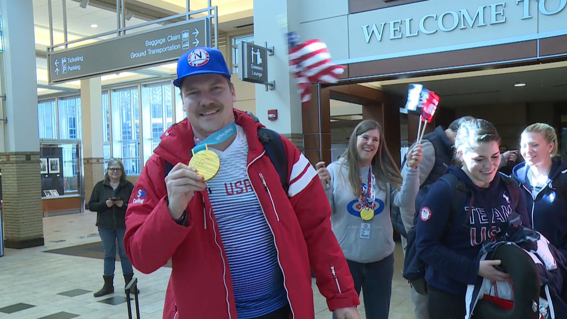 Matt Hamilton returns home to Madison after winning a gold medal in the Winter Olympics for curling in South Korea, February 26, 2018. (WMTV)
