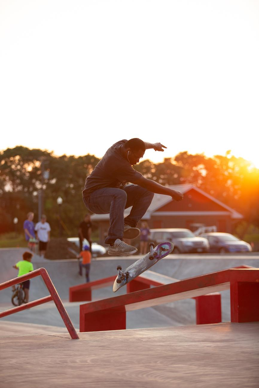 Slated to open in October 2019, the 16,000 square-foot Newark Skatepark is said to be a work of art onto itself. When completed, the Spohn Ranch-designed park will offer a street section with rails and ledges, beginner and intermediate bowls, an advanced bowl with full pipe, and a pump track. / Image: Garrett Martin via Explore Licking County // Published: 8.23.19
