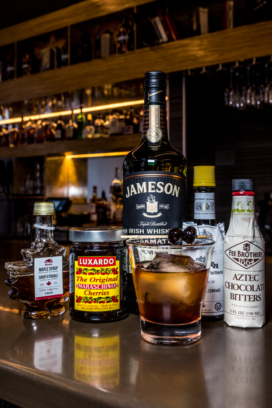 Irish Old Fashioned: Jameson Stout, Angostura bitters, maple simple syrup, orange peel, and a cherry /Image: Catherine Viox{ }// Published: 3.3.20