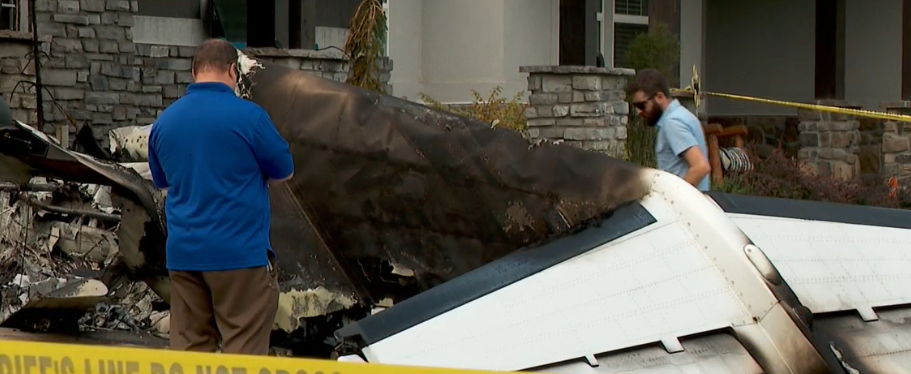"Sandy Youd said when she saw the tail of a plane that crashed into her Payson home on Monday morning, she knew ""immediately"" it was piloted by her husband, Duane. (Photo: KUTV)"