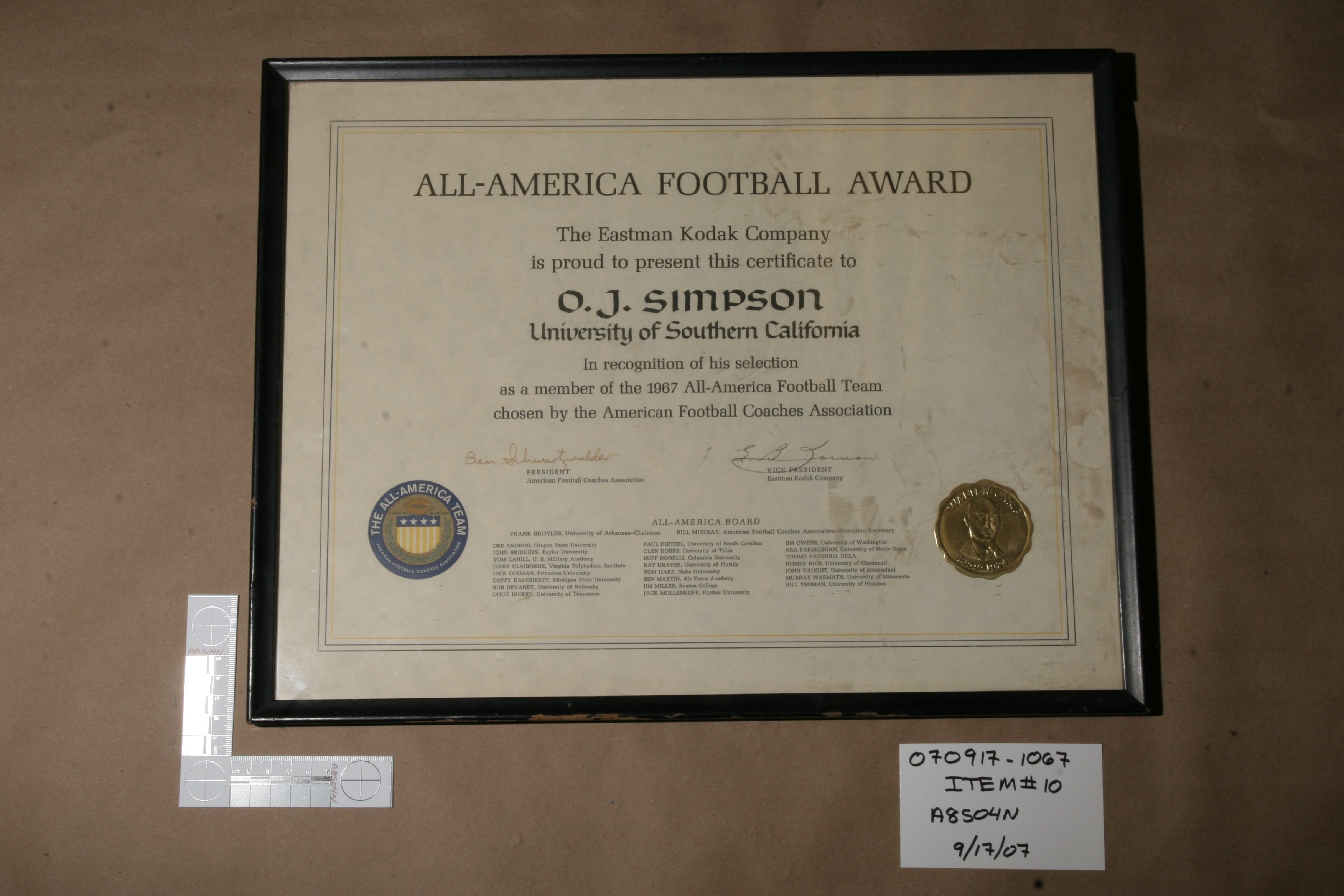Evidence from O.J. Simpson's 2007 armed robbery and kidnapping case in Las Vegas. (Photo courtesy Andy Caldwell).