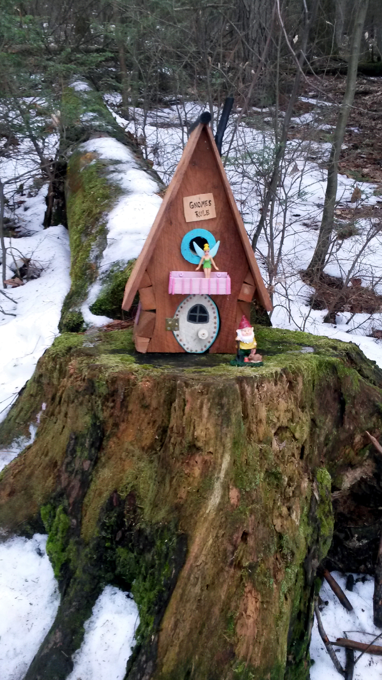 This Feb. 21, 2016, photo shows one of several gnome homes along Fisherman's Trail in Little Buffalo State Park in Newport, Pa. Park Manager Jason Baker told the Pennlive.com that he gave the OK originally for for Steve Hoke to create the mini houses, but it was later decided the homes could affect wildlife habitat. Hoke removed the little abodes Monday after being told he had until Feb. 29. (Deb Kiner/PennLive.com via AP) MANDATORY CREDIT; MAGS OUT